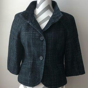 ANN TAYOR Black/Blue Tweed Mock Neck Jacket Size 6
